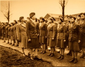 10-Somewhere in England, Major Chairty E. Adams and Capt Abbie N. Campbell, inspect the first contingent of Negro members of the Women's Army Corps assigned to overseas service. 6888th Central Postal Directory Bn., February 15, 1945