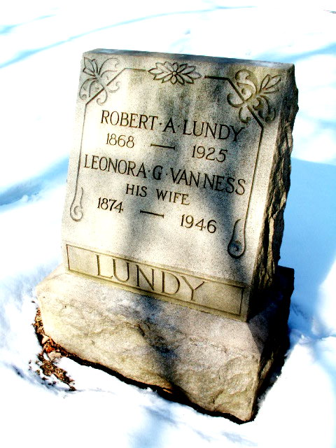 1001z1-ROBERT A. LUNDY (born 1868-died 1925) & LEONORA G. VANNESS HIS WIFE (born 1874-died 1946) MOUNT HOLINESS MEMORIAL PARK BLACK CEMETERY BUTLER, NEW JERSEY (c. LAWRENCE E. WALKER FOUNDATION)