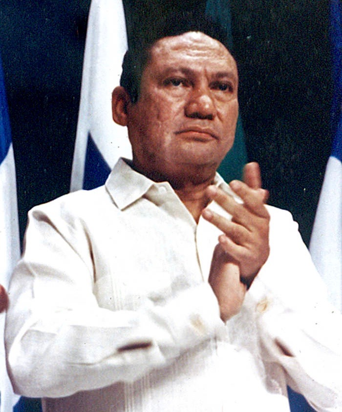 FILE PHOTO: Manuel Noriega takes part in a news conference at the Atlapa center in this file photo in Panama City October 11, 1989.   REUTERS/Alberto Lowe/File Photo     TPX IMAGES OF THE DAY