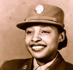 48-Portrait of WAC Millie Dunn Veasey, circa 1944. The front of the photo reads To Aunt Pearl, 'sister copy 2