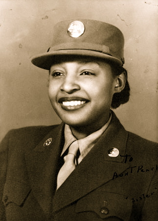 48-Portrait of WAC Millie Dunn Veasey, circa 1944. The front of the photo reads To Aunt Pearl, 'sister copy