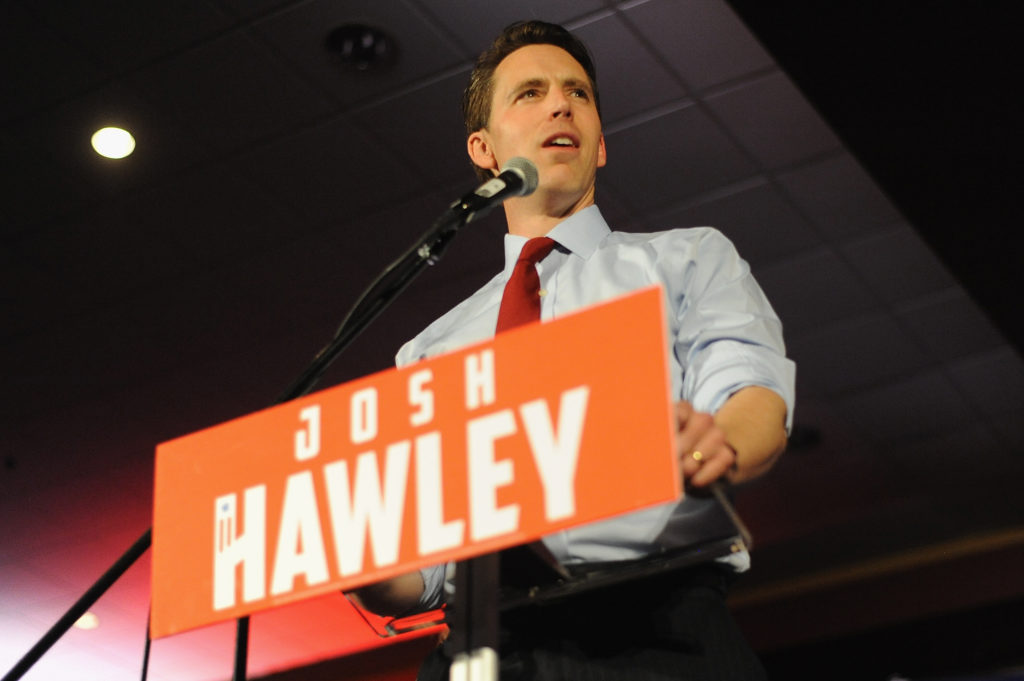 SPRINGFIELD, MO - NOVEMBER 06: Senator-Elect Josh Hawley delivers his victory speech during the Josh Hawley Election Night watch party at the University Plaza Hotel and Conference Center on November 6, 2018 in Springfield, Missouri. Hawley defeated incumbent Senator Claire McCaskill.(Photo by Michael B. Thomas/Getty Images)