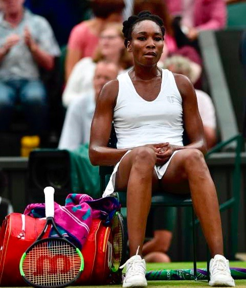 US player Venus Williams reacts after losing the first set against Spain's Garbine Muguruza during their women's singles final match on the twelfth day of the 2017 Wimbledon Championships at The All England Lawn Tennis Club in Wimbledon, southwest London, on July 15, 2017. / AFP PHOTO / Glyn KIRK / RESTRICTED TO EDITORIAL USEGLYN KIRK/AFP/Getty Images