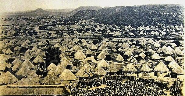 africa-botswana-history-gaborone-national-museumold-post-card-of-mochudi-a-kaffir-town