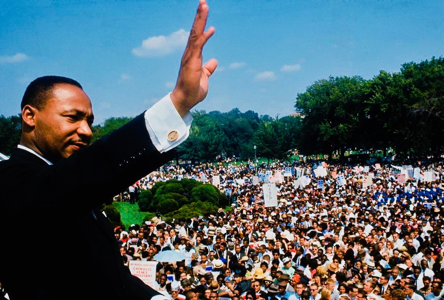 DISTRICT OF COLUMBIA, UNITED STATES - AUGUST 28: Dr. Martin Luther King Jr. addressing crowd of demonstrators outside the Lincoln Memorial during the March on Washington for Jobs and Freedom. (Photo by Francis Miller/The LIFE Picture Collection/Getty Images)