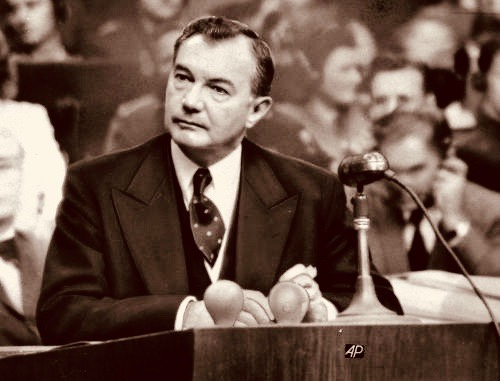 This is a 1946 photo of Chief U.S. prosecutor Robert H. Jackson seen during summation statements at the International War Crimes Tribunal at Nuremberg, Germany. (AP Photo)