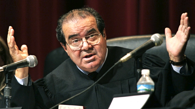 chapman.0830 - 08/29/05 - A Supreme Court headed by Supreme Court Justice Antonin Scalia has questions for Chapman University Law School professor John Eastman as he and California Attorney General Bill Lockyer argue the 1905 ''Lochner v. State of New York'' case during a re-enactment Monday afternoon at Chapman University. (Credit: Mark Avery/Orange County Register/ZUMA Press)