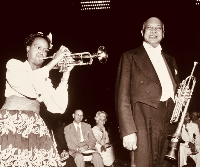 Jazz musician W. C. Handy standing next to unident. trumpeter. Jazz essay: set #16266