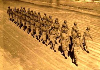 WAAC Nures On Sand Marching During World War II