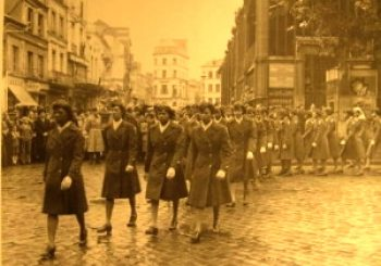 WAC's 6888 in England Marching
